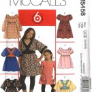 McCall's Sewing Pattern 5458 Girls Size 3-4-5-6 Easy Raised Waist Tops Dress Sleeve Bodice Options
