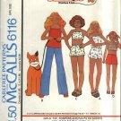 Retro McCall's Sewing Pattern 6116 Girls Size 7 Orphan Annie Knit Top Romper Pants Shorts