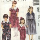 McCall's Sewing Pattern 5671 Girls Size 10-12-14 Long Short Sleeve Full Skirt Dress Jumpsuit