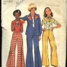 Retro Simplicity Sewing Pattern 6187 Girls Size 10 Mock Western Style Shirt Jacket Bell Bottom Pants