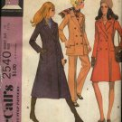 Retro McCall's Sewing Pattern 2540 Misses Size 10 Double Breasted Reefer Coat Jacket Pants