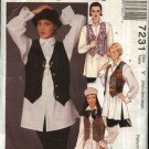 McCall's Sewing Pattern 7231 Misses Size 4-14 Easy Button Front Lined Vest Long Sleeve Shirts