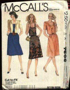 McCall�s Sewing Pattern 7506 Misses Size 10-14 Pullover Sleeveless Dress Short Sleeve Jacket
