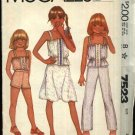 McCall's Sewing Pattern 7523 Girls Size 4 Camisole Top Flared Skirt Long Pull on Pants Shorts