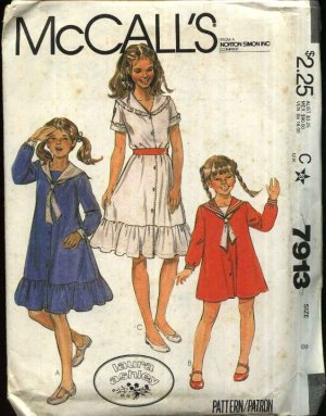 28086ef8b438 McCall's Sewing Pattern 7913 Girls Size 8 Laura Ashley Button Front ...