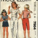 McCall's Sewing Pattern 7984 Girls Size 10 Summer Pullover Top Pants Shorts Knickers
