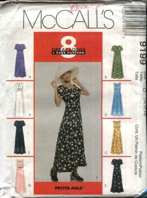 McCall�s Sewing Pattern 9199 Misses Size 10-12-14 Easy Dress with Sleeve Neckline Trim Variations