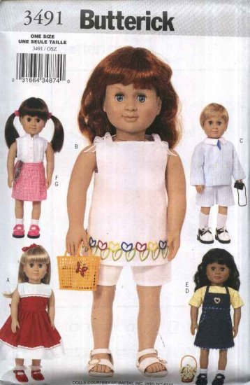 "Butterick Sewing Pattern 3491 18"" Doll Clothes Jumper Dress Jacket Shorts Skirt Suit Top Tunic"