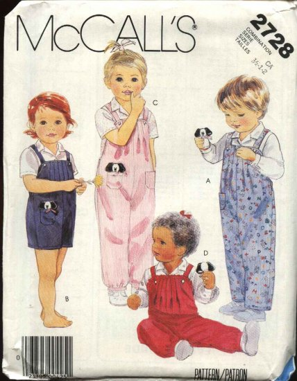 McCall�s Sewing Pattern 2728 Toddlers Boys Girls Size 1-2-3  Long Overalls Romper Shirt Toy
