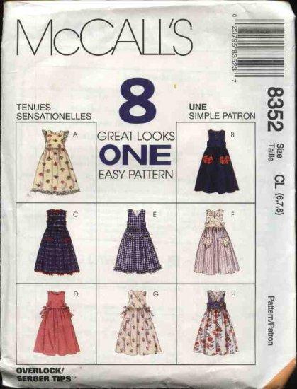 McCall's Sewing Pattern 8352 M8352 Girls Size 4-6 Easy Full Skirt Jumper Sundress