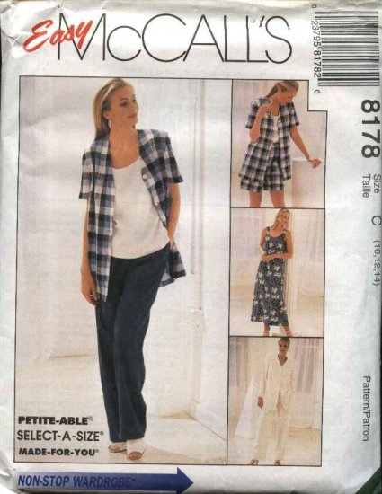 McCall's Sewing Pattern 8178 Misses Size 12-16 Easy Wardrobe Sleeveless Dress Top Jacket Pants