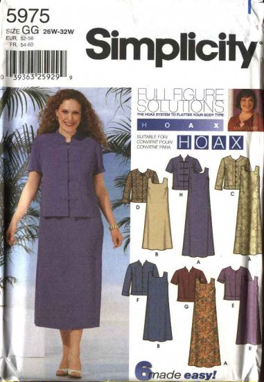 Simplicity Sewing Pattern 5975 Womens Plus Size 18W-24W Pullover A-Line Dress Jacket