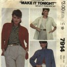 McCall's Sewing Pattern 7914 Misses Size 18 Unlined Raglan Sleeve Jackets
