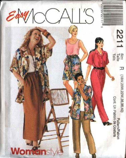 McCall's Sewing Pattern 2211 Womans Plus Size 22W-26W Easy Wardrobe Shirt Top Pants Shorts Skirt