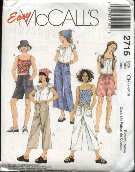 McCall's Sewing Pattern 2715 Girls Size 7-10 Easy Drawstring Pants Shorts Camisole Peasant Top Scarf