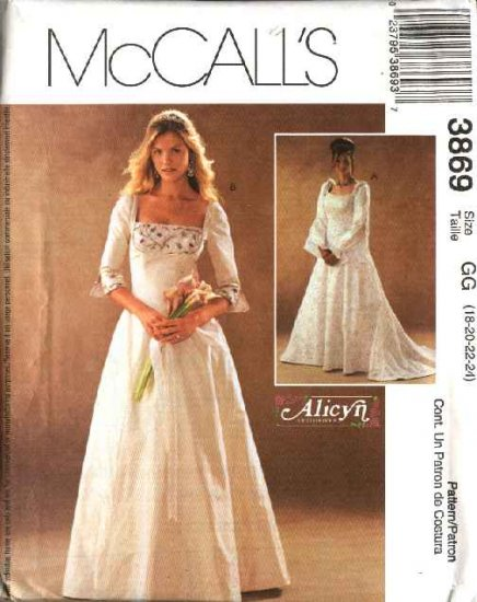 McCall's Sewing Pattern 3869 Misses Size 8-14 Alicyn Bridal Wedding Gown Dresses Cut-on Train