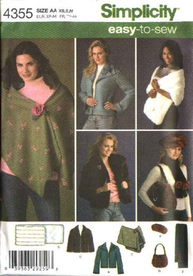 Simplicity Sewing Pattern 4355 Misses Size 14-24  Easy Jacket Faux Fur Stole Scarf Hat Purse Bag