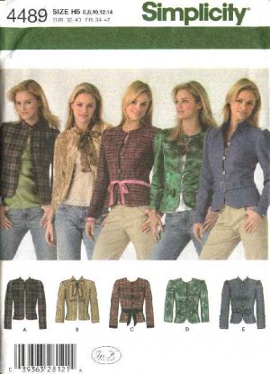 Simplicity Sewing Pattern 4489 Misses Size 6-14 Princess Seam Jackets