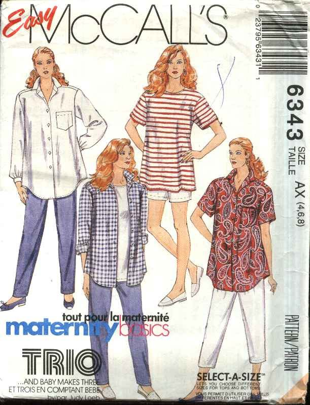 McCall�s Sewing Pattern 6343 Misses Size 4-8 Easy Maternity Top Shirt Cropped Long Pants Shorts