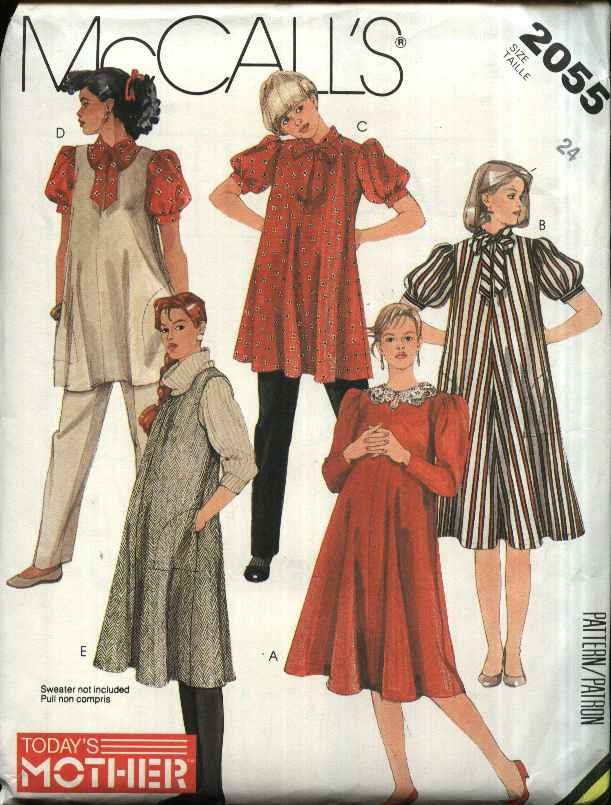 McCall�s Sewing Pattern 2055 Misses Size 24 Maternity Dress Top Jumper Tunic Pants Blouse