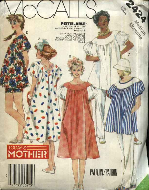 McCall�s Sewing Pattern 2424 Misses Size 14-16 Maternity Pullover Dress Top Pants Shorts