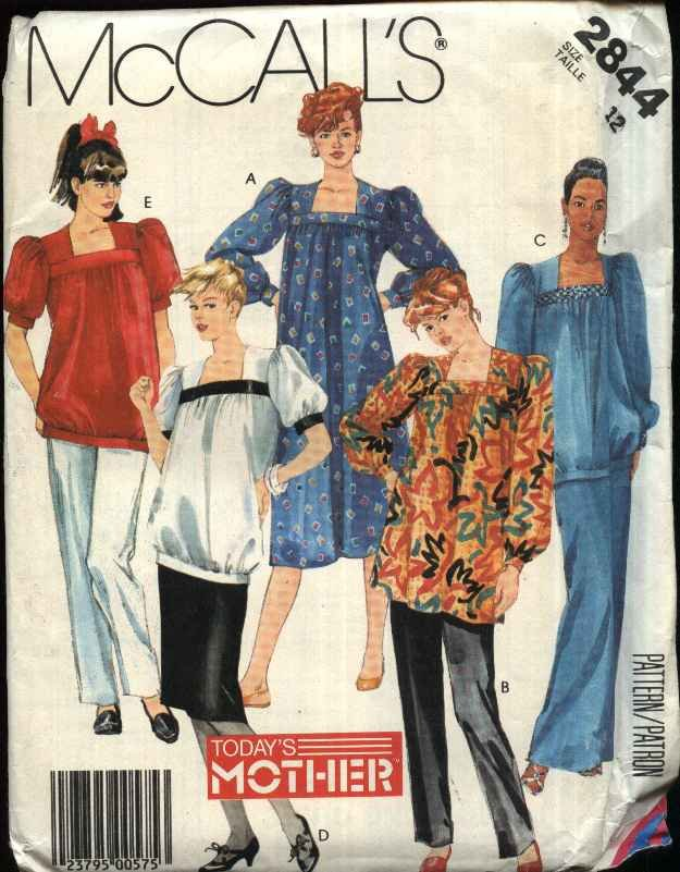 McCall�s Sewing Pattern 2844 Misses Size 12 Maternity Dress Top Long Short Skirt Pants