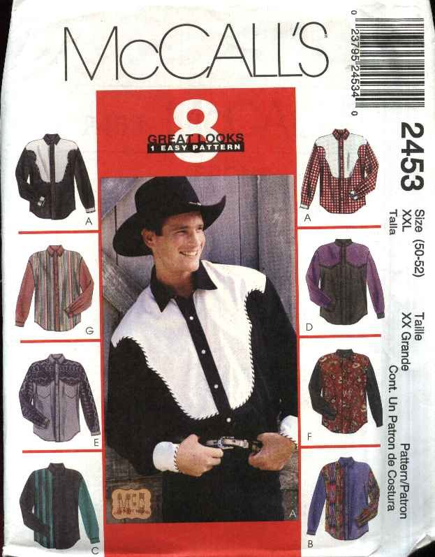"""McCall�s Sewing Pattern 2453 Mens Size XXLarge 50-52"""" Chest Easy Western Style Shirts"""