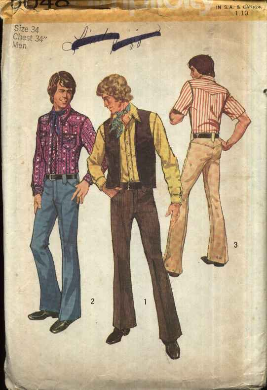 Simplicity Sewing Pattern 5048 Mens Size 34 Western Style Shirt Jeans Pants Vest