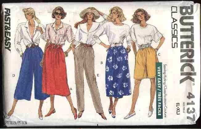 Butterick Sewing Pattern 4137 Misses Size 16-22 Easy Classic Skirts Long Pants Shorts Culottes