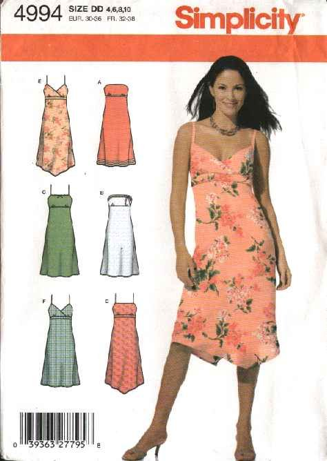 Simplicity Sewing Pattern 4994 Misses Size 4-6-8-10  Sundress Strapless Summer Dress