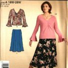 Simplicity Sewing Pattern 4424 Women's Plus Size 18W-28W Easy  Knit Pullover Top Gored Flared Skirt