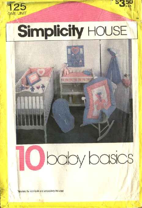 Simplicity Sewing Pattern 125 Baby Infant Room Accessories Diaper Stacker Crib Pers Toys