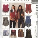 McCall's Sewing Pattern 2915 Misses Size 20-22 Lined Vest Trim Length Variations