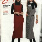 McCall's Sewing Pattern 3299 Misses Sizes 16-18-20-22 Easy Pullover Long Straight Jumper