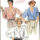 Vogue Sewing Pattern 9165 Misses Size 12 Front Wrap Blouse Short Long Sleeves Tucks Top