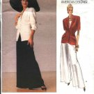 Vogue Sewing Pattern 2297 Misses Size 6-10 Donna Karan Wide Legged Pants Jacket Sleeve Options