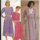 Butterick Sewing Pattern 3112 Misses Size 10 short Long Sleeve A-Line Skirt Tucked Bodice Dress