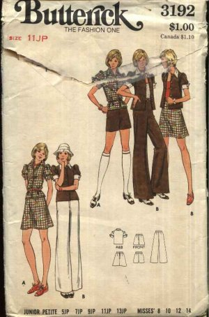 Vintage Butterick Sewing Pattern 3192 Junior Petite Size 11 Wardrobe Pants Shorts Skirt Top