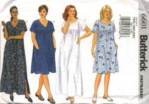Butterick Sewing Pattern 6601 B6601 Womans Plus Size 22W-26W Easy Loose Fitting Summer Dress MuuMuu