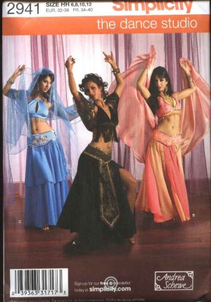 Simplicity Sewing Pattern 2941 Misses Size 14-20 Costume Dance Belly Dancer Skirt Halter Top Veil