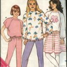 Butterick Sewing Pattern 3603 Girls Size 7-10 Easy Knit Sweatshirt Top Skirt Pants Applique