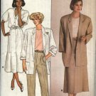 Butterick Sewing Pattern 3697 Misses Size 6-10 Button Front Jacket A-Line Pleated Skirt Pants