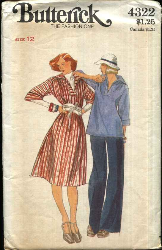 Butterick Sewing Pattern 4322 Misses Size 12 Pullover Dress Top Pants
