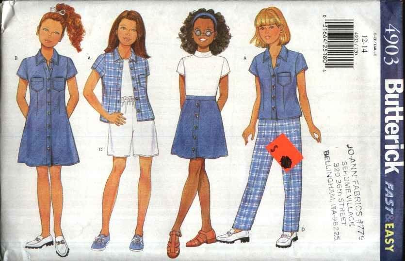 Butterick Sewing Pattern 4903 Girls� Size 12-14  Easy Wardrobe Dress Shirt Skirt Shorts Pants