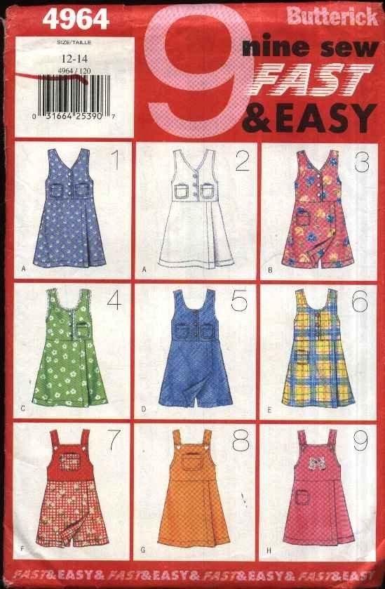 Butterick Sewing Pattern 4964 Girls� Size 12-14  Easy Skort Jumper Bodice Options Zipper Back