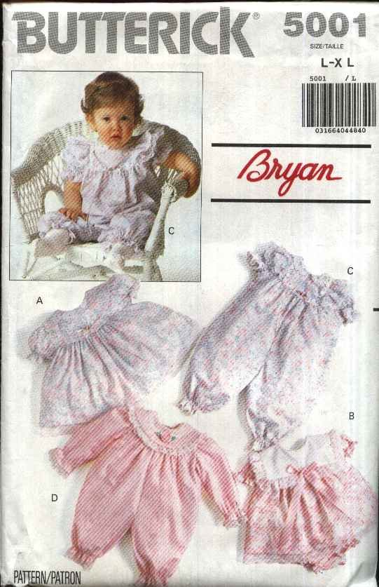 Butterick Sewing Pattern 5001 Infants Baby Girl Size L-XL Dress Panties Romper Jumpsuit
