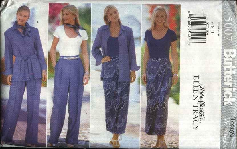 Butterick Sewing Pattern 5007 Misses Size 6-10 Wardrobe Shirt Bodysuit Skirt Sarong Pants Scarf