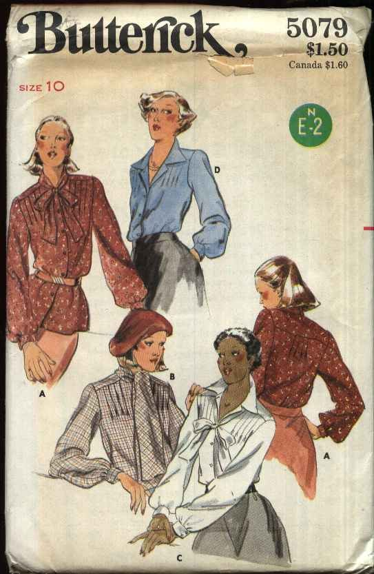 Vintage Butterick Sewing Pattern 5079 Misses Size 10 Long Sleeve Button Front Bow Tie Blouses