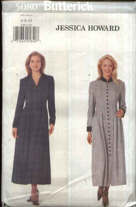 Butterick Sewing Pattern 5080 Misses Size 6-10 Easy Long Sleeve Button Front Dress