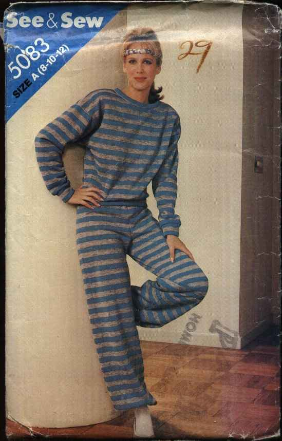 Butterick Sewing Pattern 5083 Misses Size 8-12 Knit Sweatsuit Pullover Long Sleeve Top Pants
